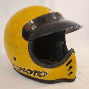 Bell Vintage Original Mini Moto Motorcycle Helmet Rare Yellow USA 6 3/4 54 BMX