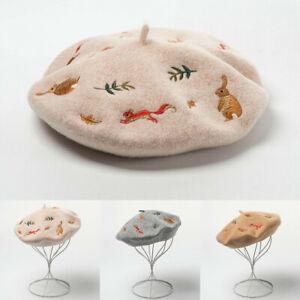 Women Wool Cashmere Beret Hat Cap Winter Soft Warm Cute Embroidered Artist Beret