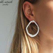 Big Drop Round Earrings Silver Minimalist Geometric Statement Party Dangle Metal