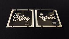 2pc King / Queen GLITTER TATTOO STENCIL SET For Henna Airbrush Facepaint