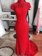 Red Wedding Dress- Evening Dress- Long Tail