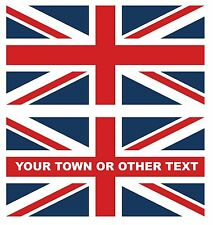 """PAIR UNION JACK FLAGS UK 200mm x 100mm 8"""" x 4"""" DECAL STICKER PLAIN OR WITH TEXT"""
