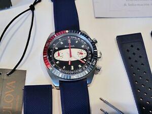 BULOVA CHRONOGRAPH -SURFBOARD BLUE DIAL 98A253 - Two straps - Original Packaging