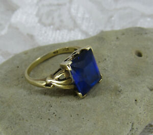 vtg 10k Gold Blue Emerald cut 3 ct sapphire Victorian Art Nouveau Ring sz 4.75