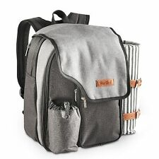 VonShef 2 Person Picnic Backpack Bag Set With Blanket ?  Premium Woven Grey