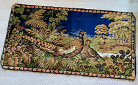 Vtg Wall Decor Hanging Tapestry Birds Pheasants Landscape Nature Scene 37x19 EUC