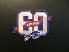 60 YEAR BUFFALO BILLS RED & WHITE & BLUE EMBROIDERED IRON ON PATCHES  2- X 3-3/2
