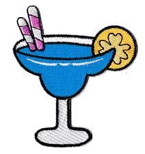 Patch écusson patche blue lagoon cocktail boisson brodé thermocollant