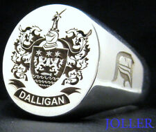 SIGNET RING EXTRA LARGE 19MM X 17MM CUSTOM ENGRAVED FAMILY CREST SILVER JOLLER