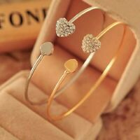 Fashion Gold Rhinestone Crystal Love Heart Bangle Cuff Bracelet Women Jewellery