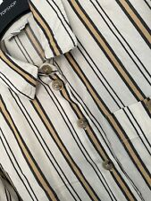 Vintage Topshop Size 8 Oversized Stripy Dad Shirt/blouse | Beige & Yellow
