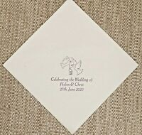 500  Personalised Wedding Napkins 40cm 3ply Choice of 9 colours 3 lines + Motif