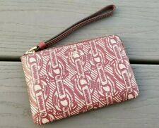 Coach F40113 Corner Zip Wristlet Wallet Canvas C Chain Print Claret Red