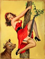1952 Pin Up Peter Driben, Large Moo-Up in a Tree Eyeful Magazine, Oil Painting