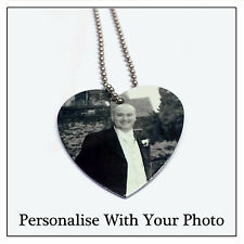 Memory Heart Tag & Chain -Silver Personalised Necklace Jewellery Photo Plaque