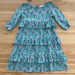 HANNA ANDERSSON Blue Floral Ruffle Knit Dress Size 120 (US 6-7)
