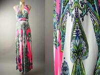 Bright Exotic Art Nouveau Print Halter Global Resort Long Maxi 141 mv Dress L