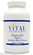 Vital Nutrients Betaine HCL w/Pepsin & Gentian 225 caps - Exp Date: 5/2019