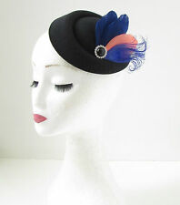 Black Coral Navy Blue Feather Pillbox Fascinator Hat Races Vintage Hair Clip 139