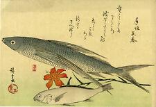 """The rare HIROSHIGE Japanese woodblock reprint: """"FLYING FISH, ISHIMOCHI AND LILY"""""""