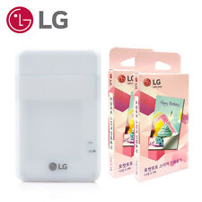 LG Pd261 Pocket Photo Printer White Zink Sticker Paper 60 Sheets USB Cable