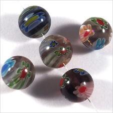 Lot de 10 Perles en Verre Millefiori 10mm Améthyste