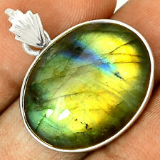 Spectrolite Labradorite From Finland 925 Silver Pendant  Jewelry PP41759