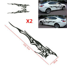 2Pcs Black Flame Graphics Car Decal Vinyl Graphic Side Body Stickers Accessories