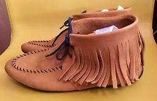 NIB ARCHE FANDY TAN NUBUCK FRINGED SHORT LACE UP MOCCASINS ANKLE BOOTS 41 B 10.5