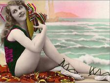 "*Postcard-""Girl Enjoys The Beach"" ...Sits w/Beach Towel & Beach Hat- (B-311)"
