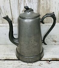"""Antique Pewter Coffee Pot 9.5"""" tall Acorn Knop on Lid Swan Form Spout"""