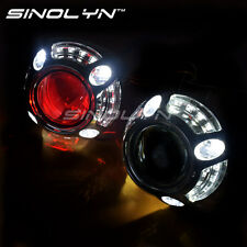 Angel Eyes Car HID Projector Lens Bi xenon Retrofit Headlight W/ LED Devil Eyes