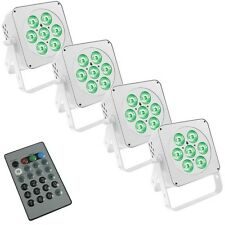 LEDJ Slimline 7Q5 White Lighting Effect x4 & I.R Remote Control DJ Disco Package
