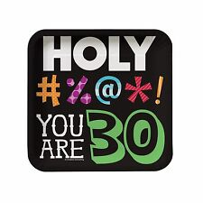 "8 Holy Bleep! 30th Happy Birthday Party Small 7"" Square Paper Plates"