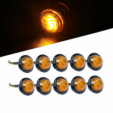 """3/4"""" Amber Yellow Small Round Side Marker lights 3LED Button Lamps Lorry 12CWIC"""