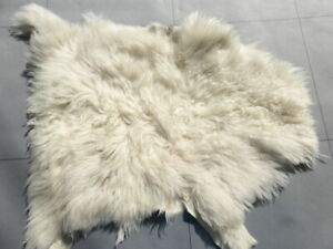 sheepskin leather hide Nappa Cream Toscana long thick curly wavy silky hair