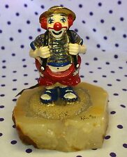 1981 Ron Lee Clown Figurine Holding Suspenders Hand Painted 24k Gold Scupture