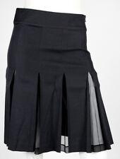 BLUMARINE Black Silk Blend Chiffon Inset Pleated Skirt 40