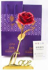 9848a08f1e8 Rose Éternelle Rouge Plaqué Or Support Love Fleur Pétale Cadeaux Fêtes Des  Mères