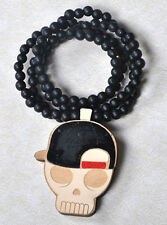 Skull Hip-Hop Theme Wood  Necklaces Pendant Beads Chain Necklaces Best Gift