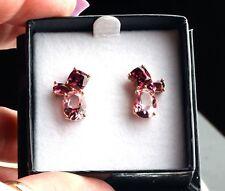 14K Rose Gold Pink Topaz, Rhodolite Garnet & Pink Tourmaline Stud Earrings