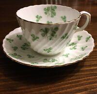Vintage Aynsley Elegant Cup & Saucer England Green Shamrock Lucky Irish 1970's