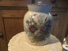 "Home and Garden Party Floral Pottery XL CANISTER & Lid.  8.5"" H x 5.5"" D.  2003"