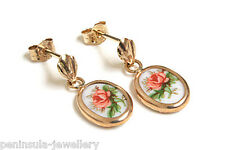 9ct Gold Limoges Style Drop earrings Gift Boxed Made in UK