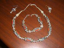 Yemeni Yemen Silver Tribal Handcrafted Set of Necklace Earrings & Bracelet