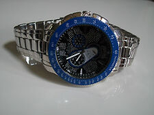 SILVER/BLUE LARGE BRACELET MAN'S  HEAVY FASHION RAPPER STYLE WATCH