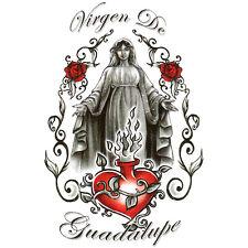 "Bullseye Urban Realistic Temporary Tattoo, ""Virgen De Guadalupe"" w/ Heart & Rose"