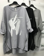 Ladies Lagenlook Plus Size Quirky Oversize Zip Paint Top Size 18-22