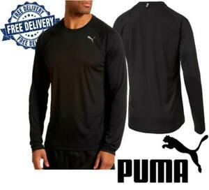 Puma Mens Sweat Top Breatheable Gym Shirt Performance Pullover T Shirt Black