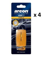 4 x Areon Vent 7 VANILLA Air Freshener Car Taxi Scent Fragrance Aroma Perfume